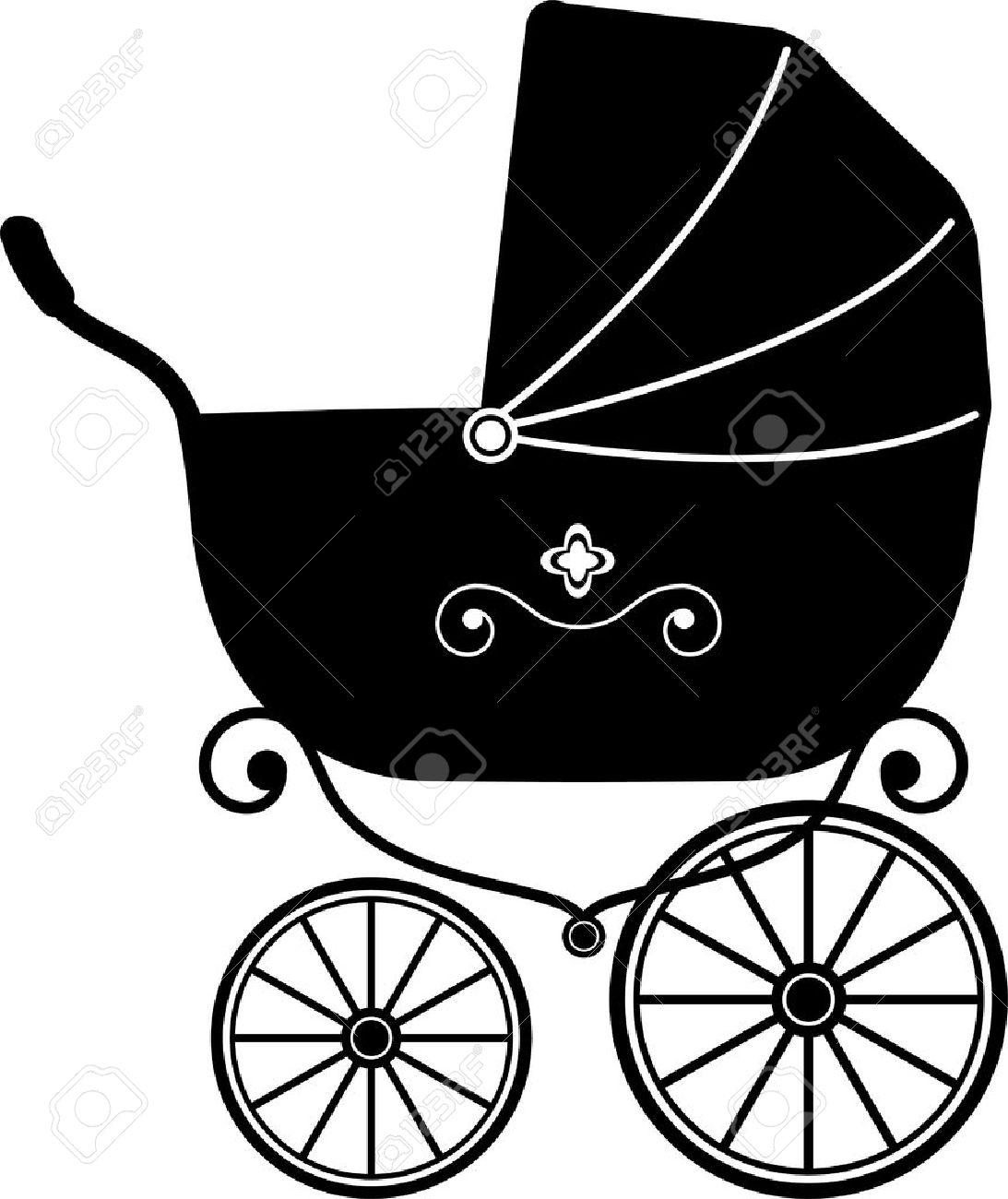 baby stroller over white silhouette stock vector 12284517