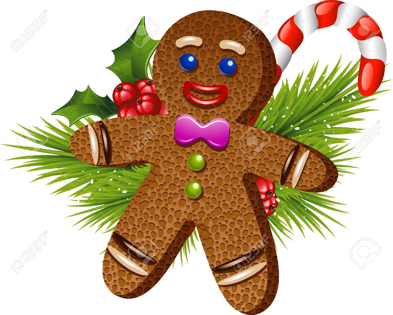 Christmas Gingerbread Man Over White Eps 10