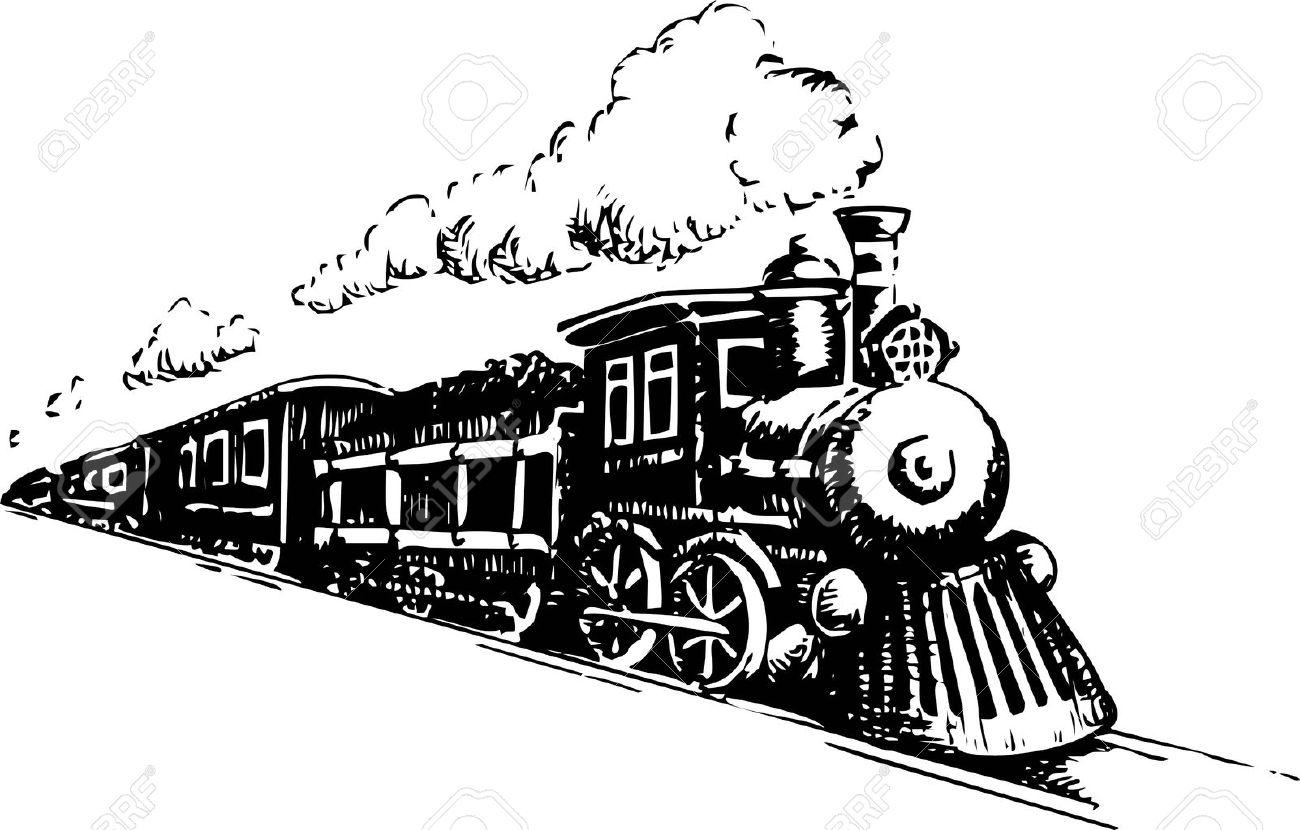Old Steam Locomotive. Vector illustration on a white. - 69632254