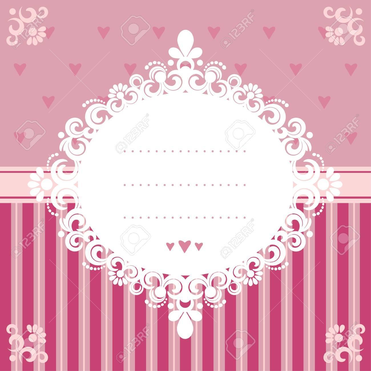 Design Invitation Card In Pink Tones Eps 10