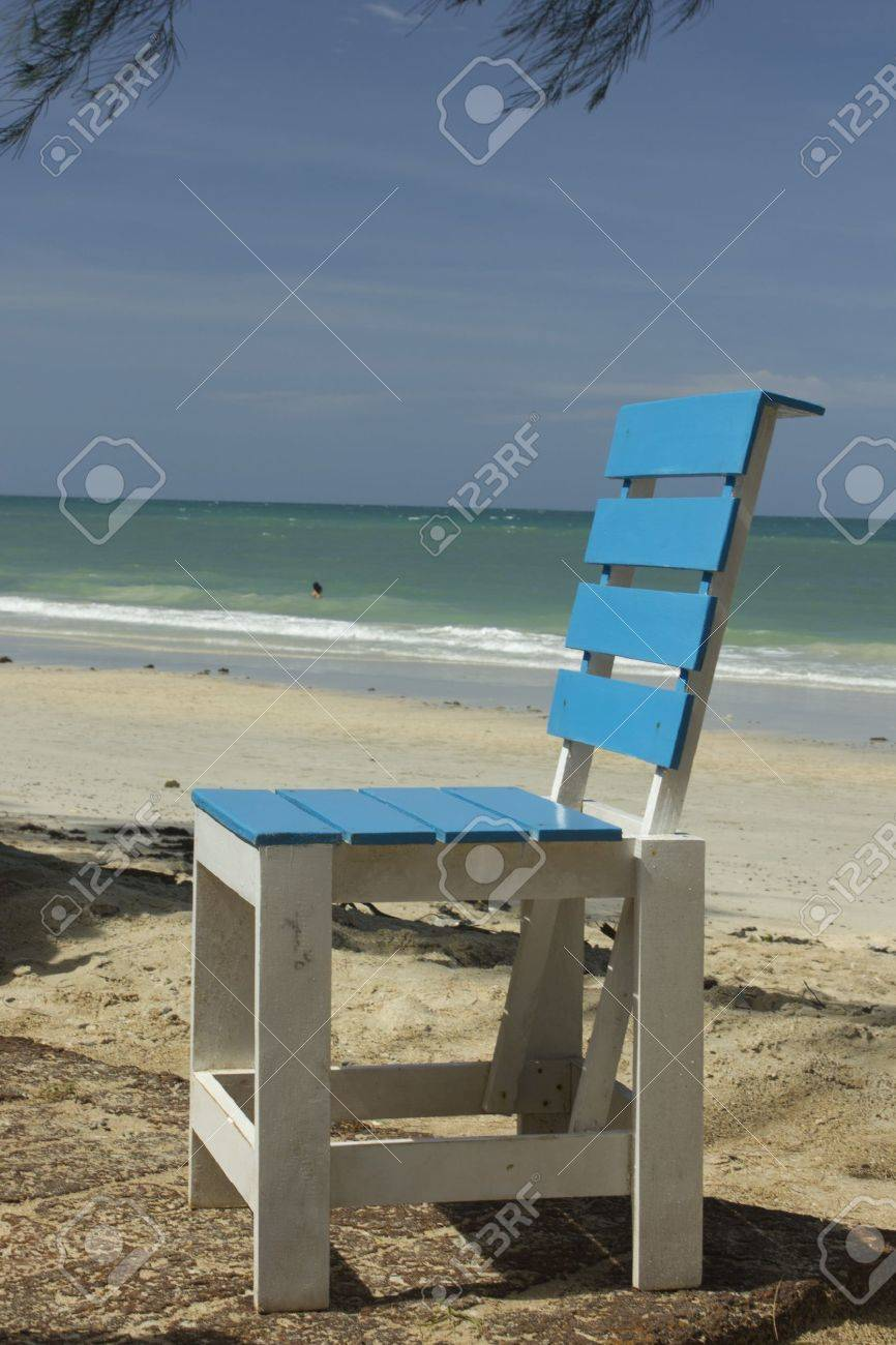 Blue wooden chair isolated over white Stock Photo - 14853929