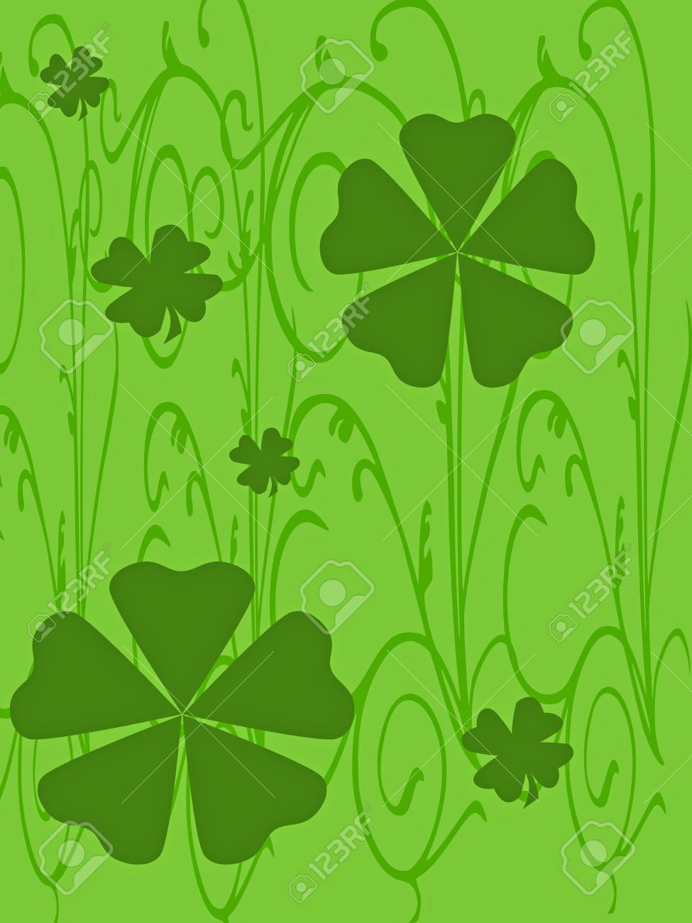 Clovers of different sizes and colors on a green background. Stock Photo - 4328527