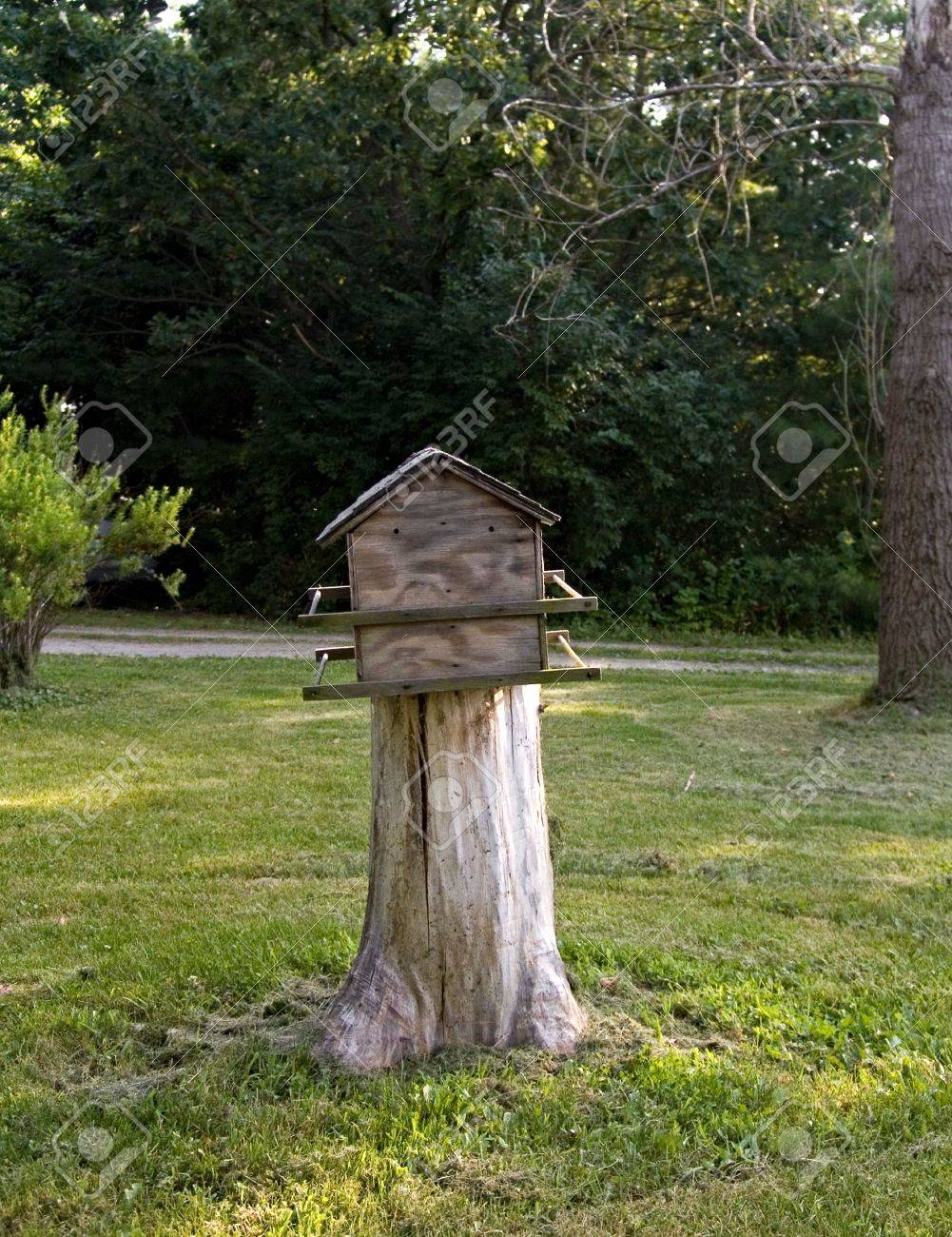 Tree stump house - An Old Rustic Bird House On A Tree Stump In A Rural Area Stock Photo