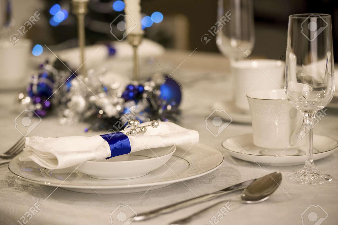 Elegant Table Settings Beauteous Elegant Blue And White Christmas Table Setting Stock Photo Inspiration Design