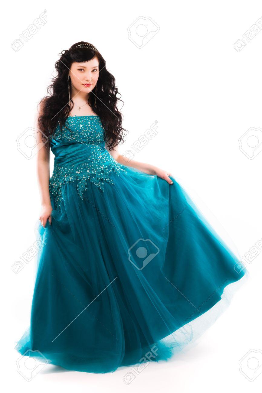 Beautiful Girl Wearing A Prom Dress, Vertical Format Stock Photo ...