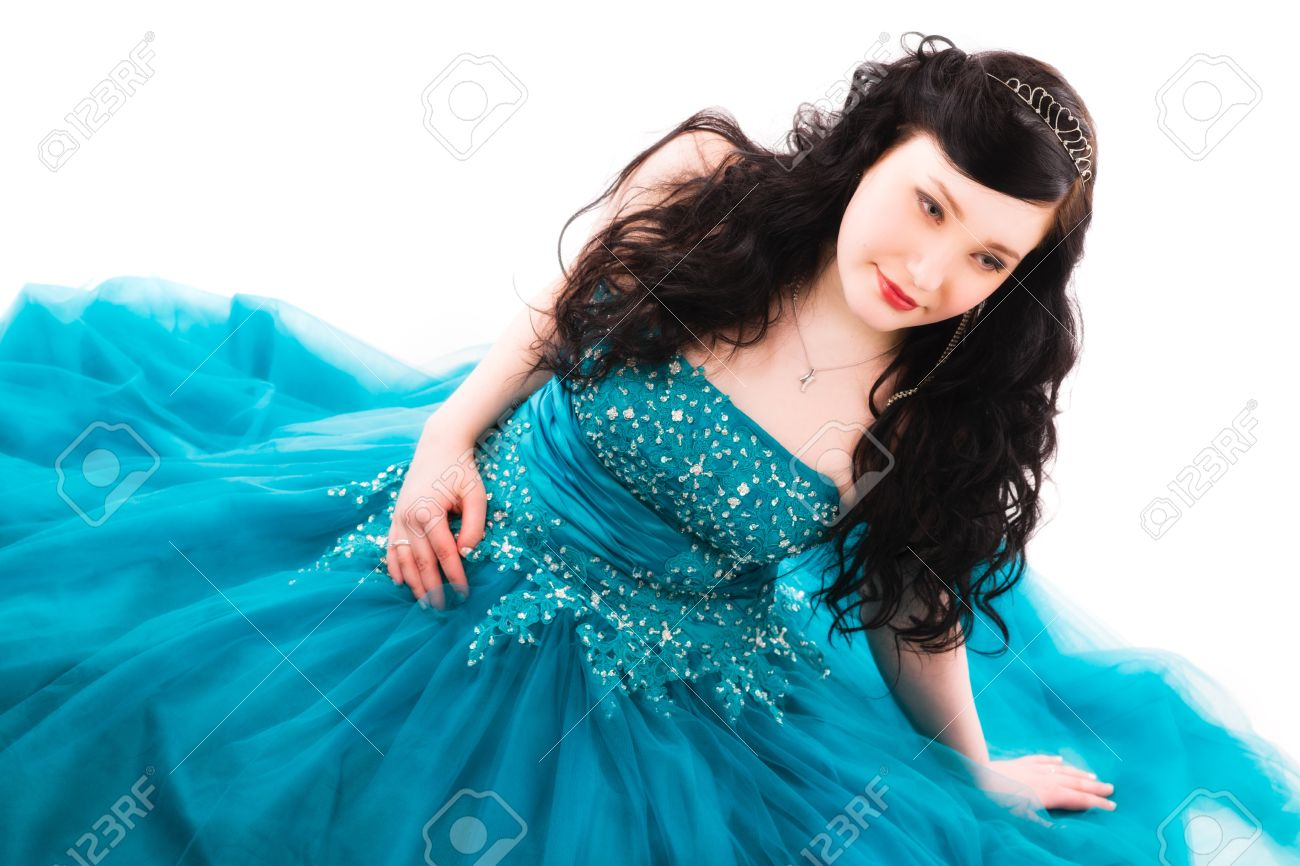 Beautiful Girl Wearing A Prom Dress, She Is Sitting On The Ground ...