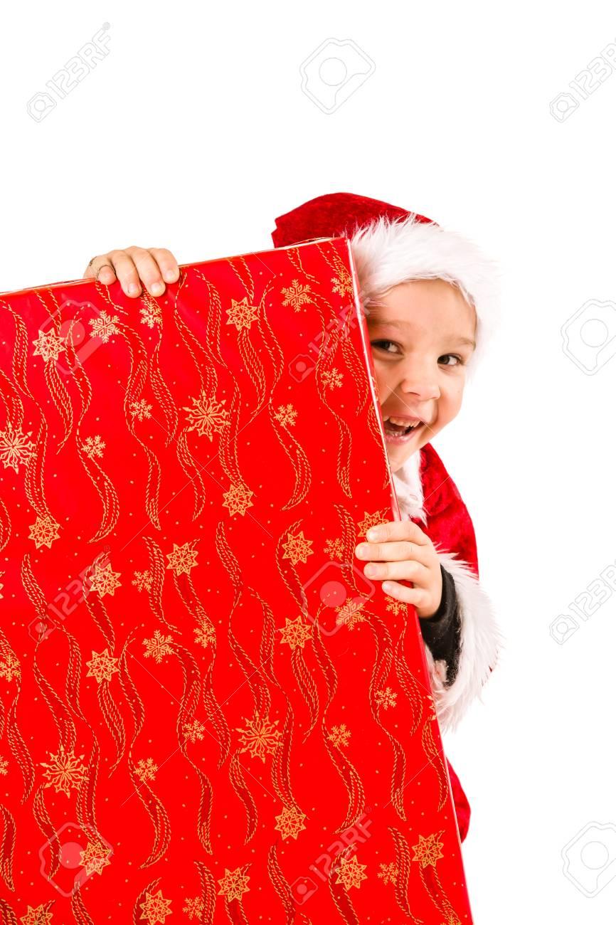 Lächelnd 5 Jahre Alten Jungen Tragen Weihnachtsmann-Kostüm ...
