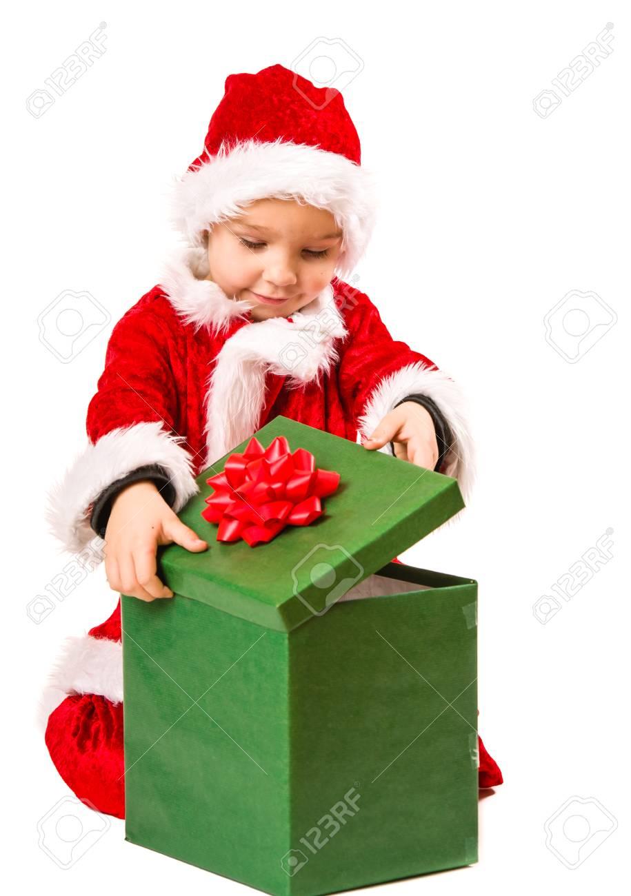 Adorable 5 Jahre Alten Jungen Tragen Weihnachtsmann-Kostüm ...
