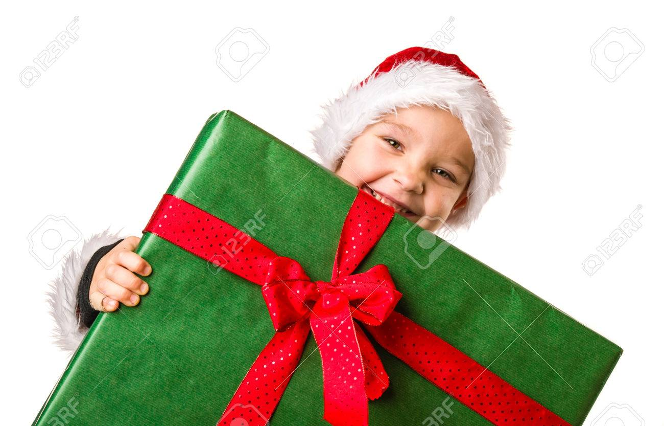 Adorable 5 Year Old Boy Wearing Santa Claus Costume, Large Christmas ...