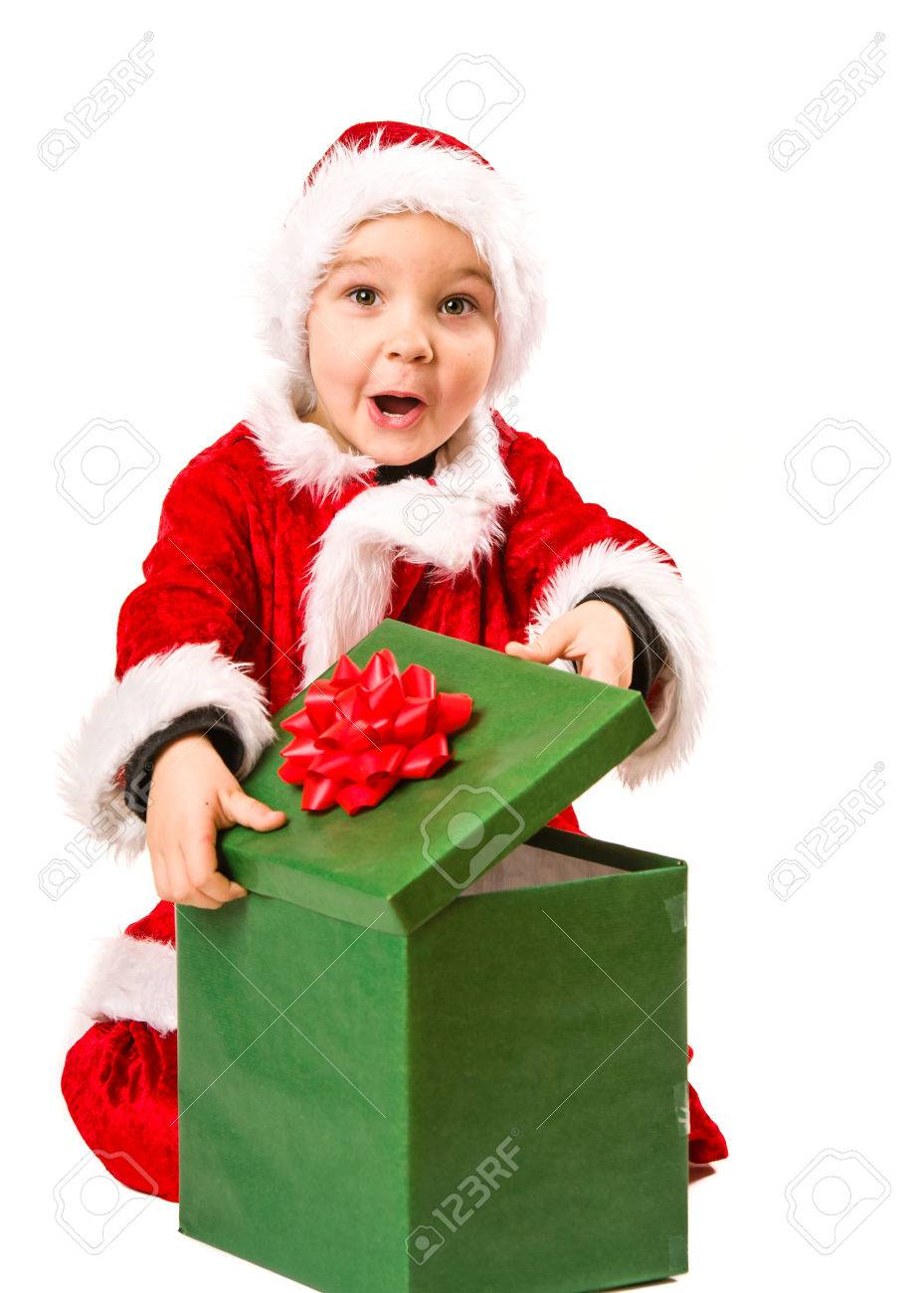 Adorable 5 Year Old Boy Wearing Santa Claus Costume, He Opens ...