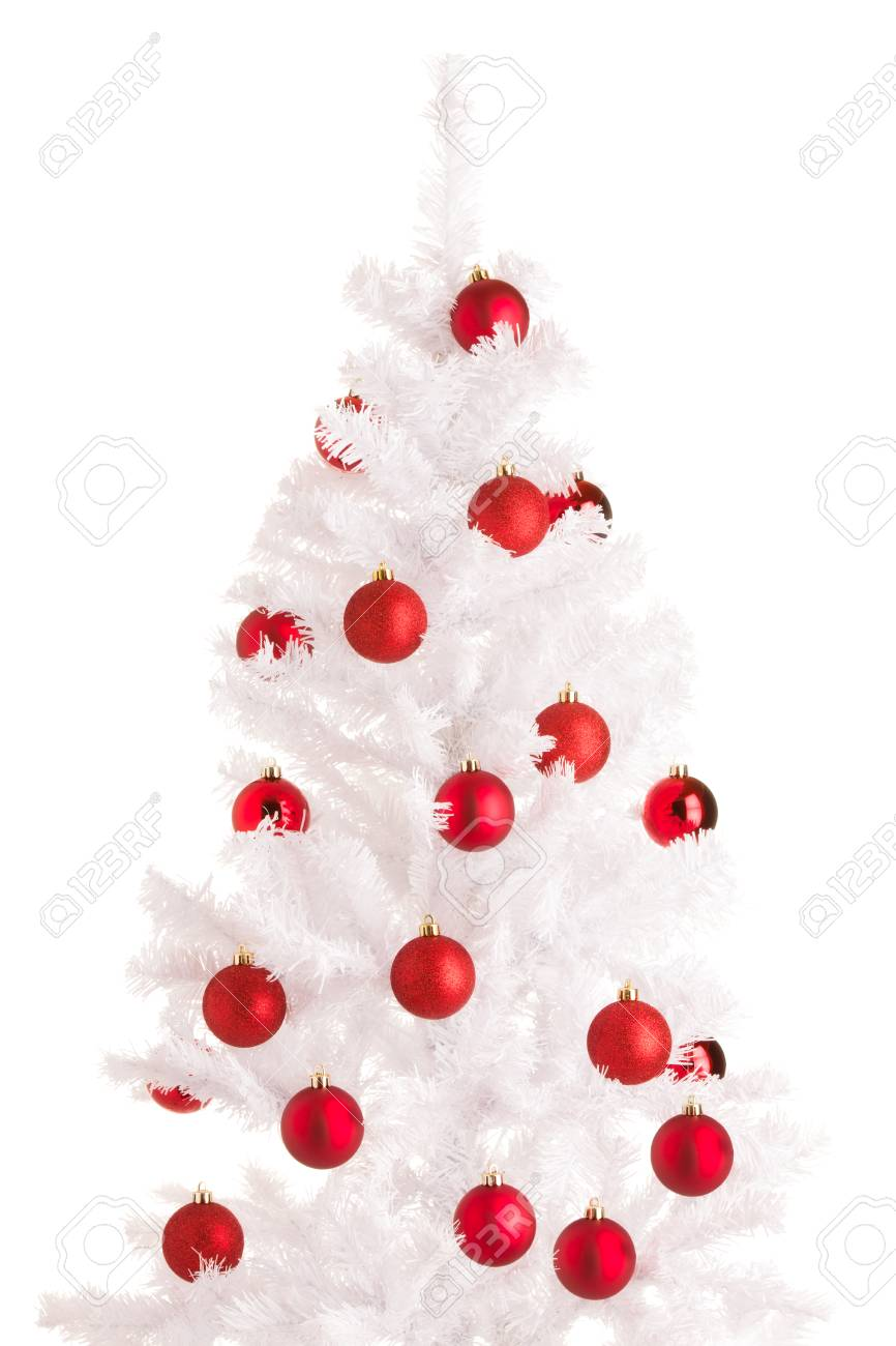 White Christmas Tree And Red Balls White Background Stock Photo