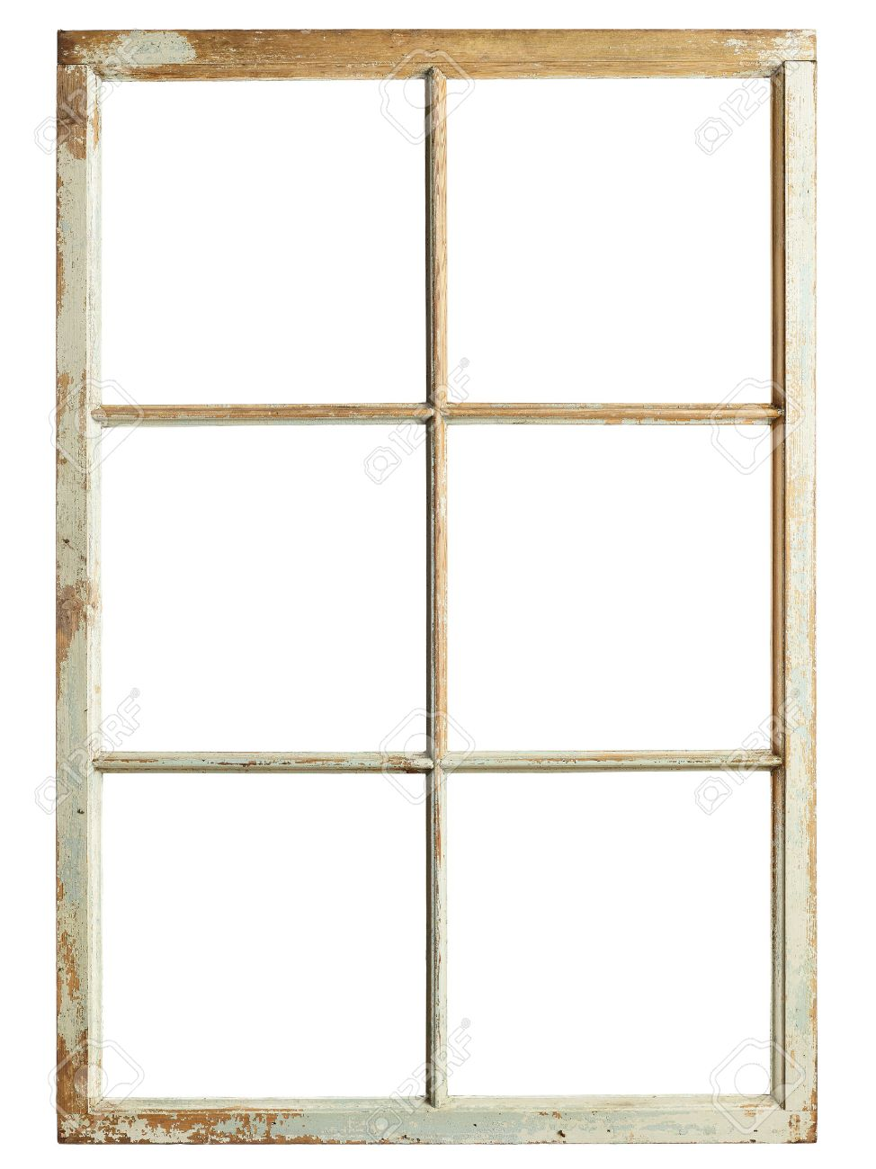 old window frame six square glazing isolated image stock photo 50791741