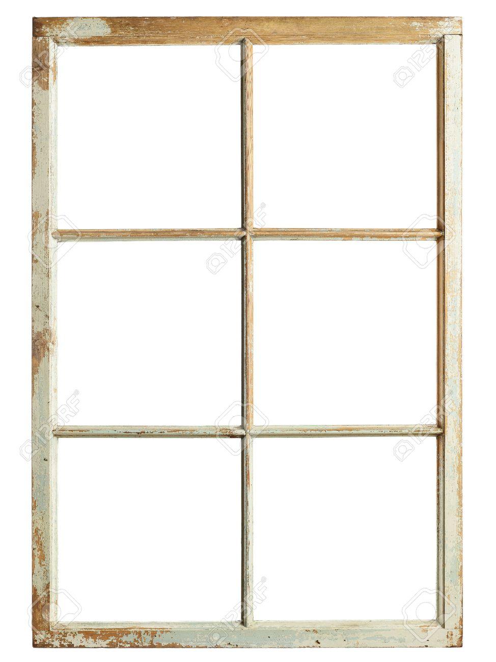 Old Window Old Window Frame Six Square Glazing Isolated Image Stock Photo