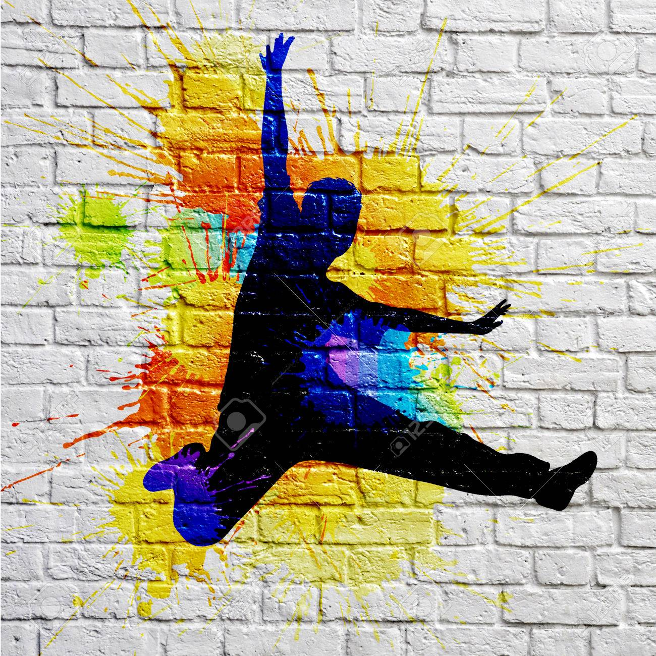 Graffiti Jumping Man On A Brick Wall Stock Photo, Picture And ...