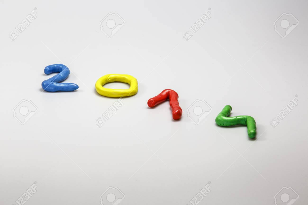New Year 2014 from colors play dough Stock Photo - 23879870