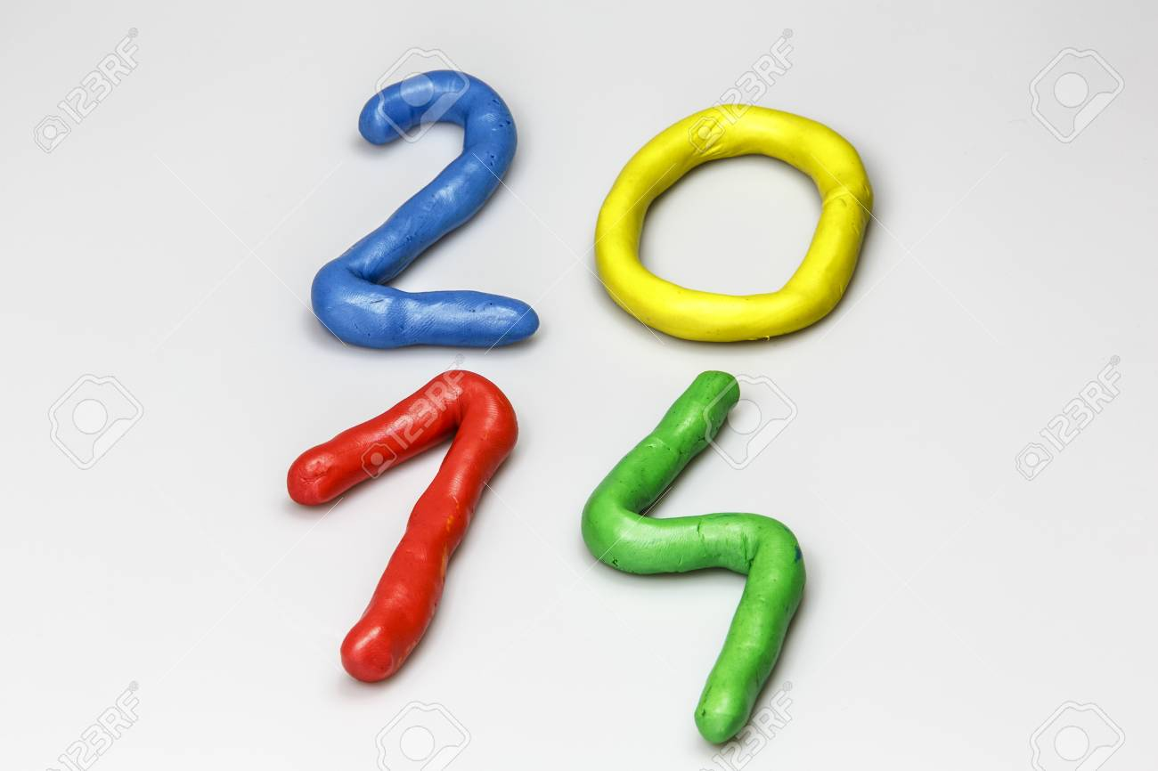 New Year 2014 from colors play dough Stock Photo - 23879873