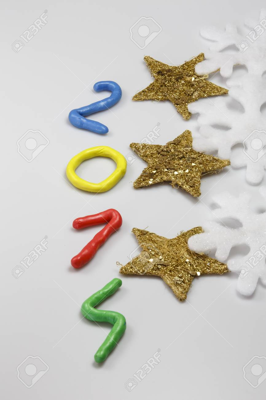 New Year 2014 from colors play dough Stock Photo - 23879875
