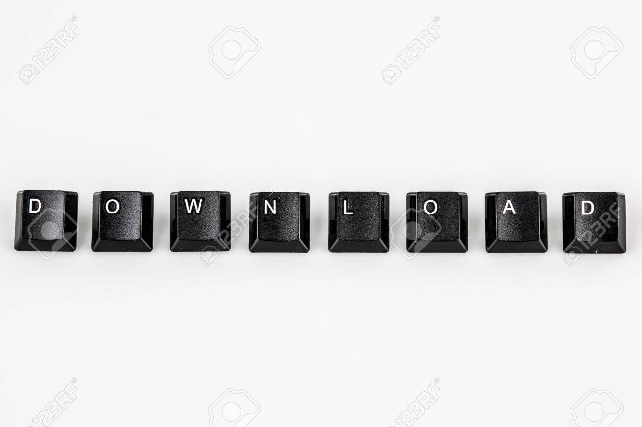 download word written with black computer buttons on white background Stock Photo - 28177879
