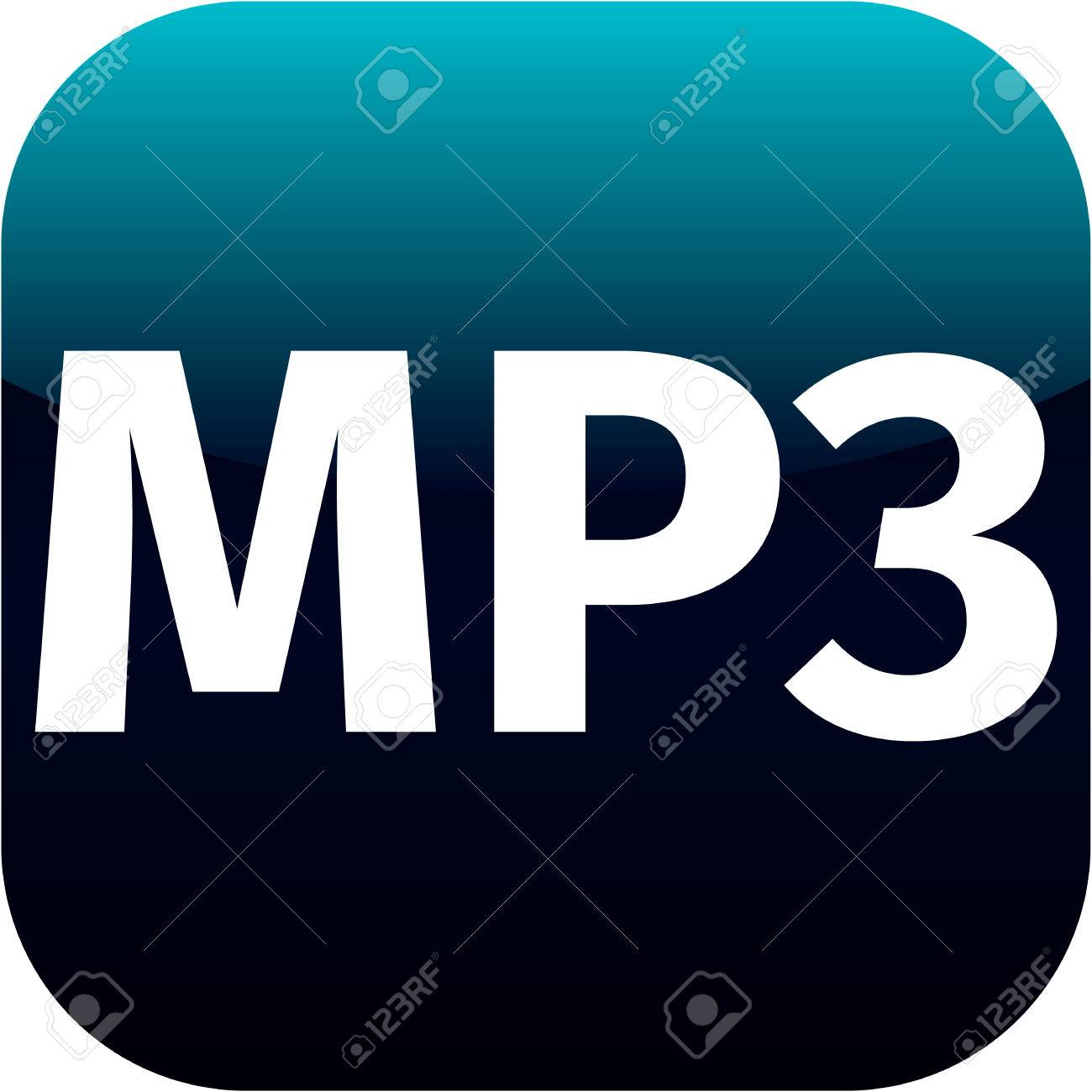 blue mp3 music download icon for web or phone app stock photo
