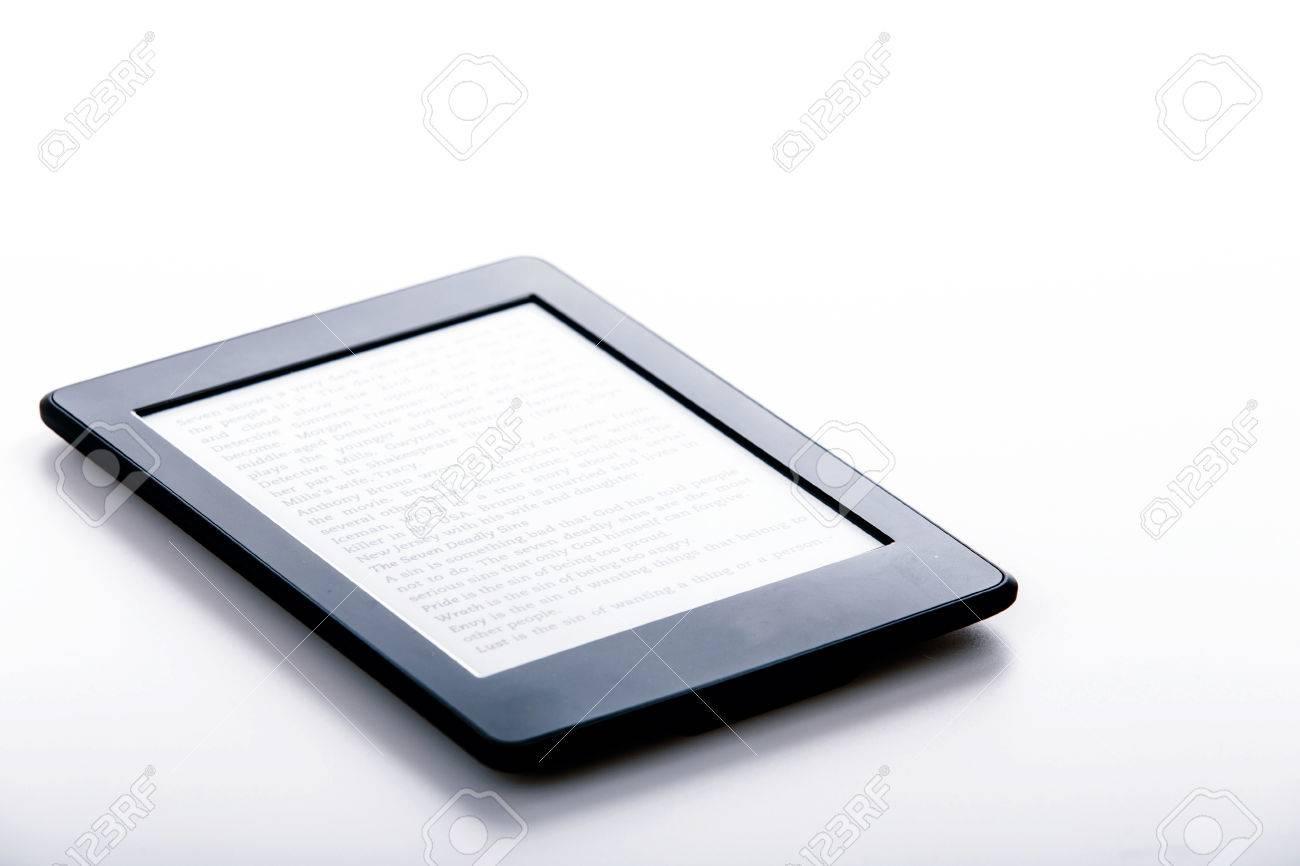Schwarz Ebook Reader Oder Tablet Auf Weißem Hintergrund Lizenzfreie