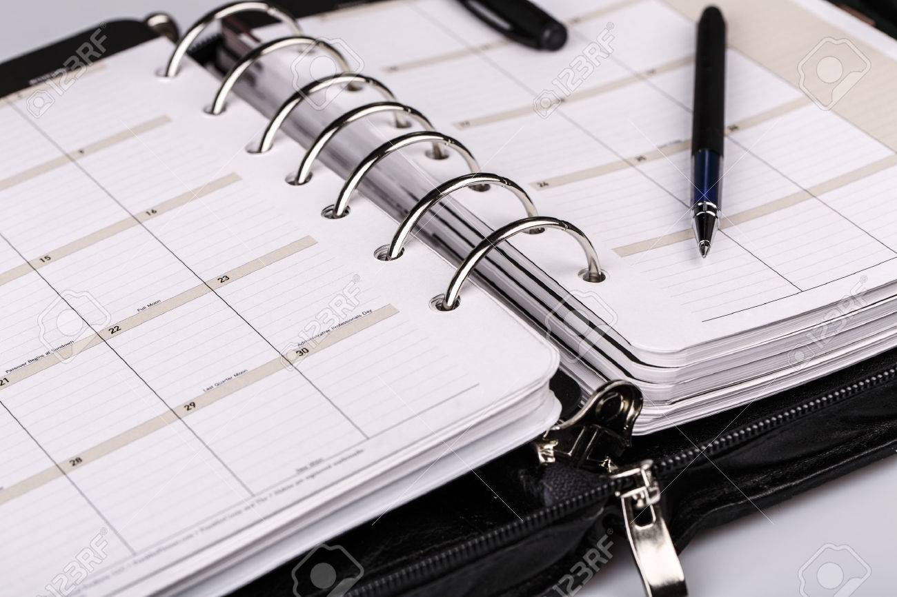 luxury executive leather personal organizer or planner on white background - 46220660