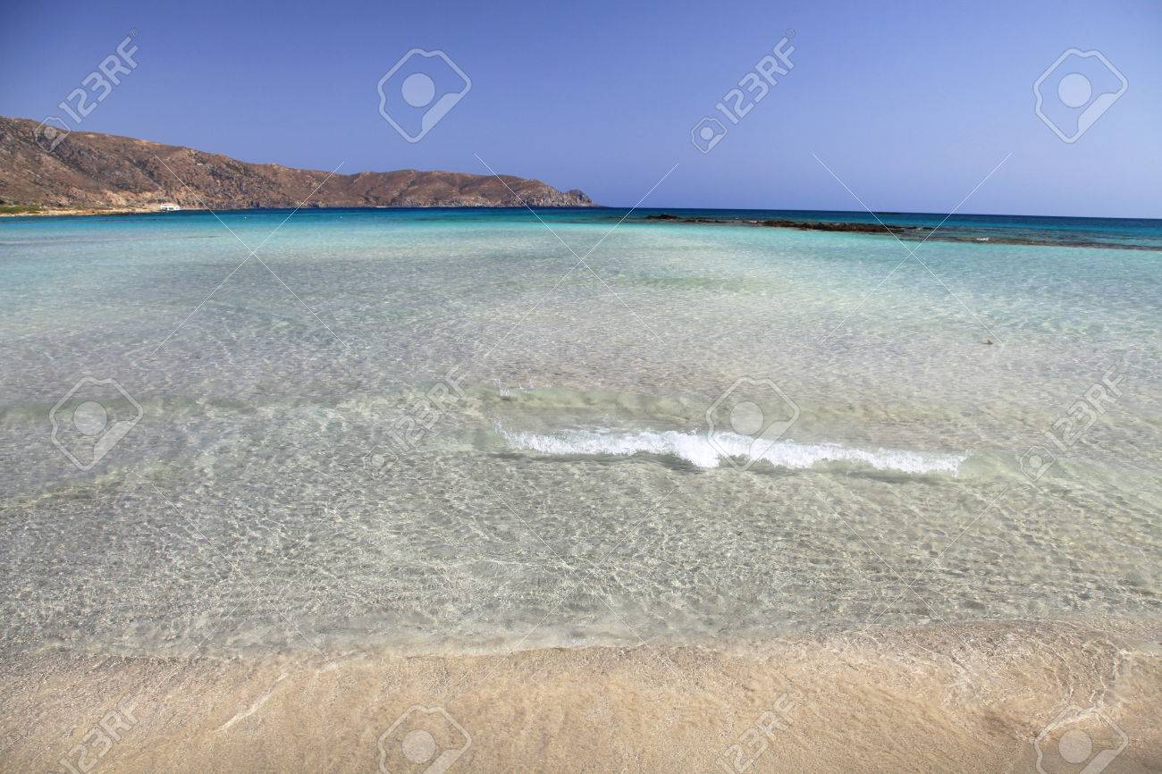 Shallow Clear Sea With Pink Sand Beach At Elafonisi Crete
