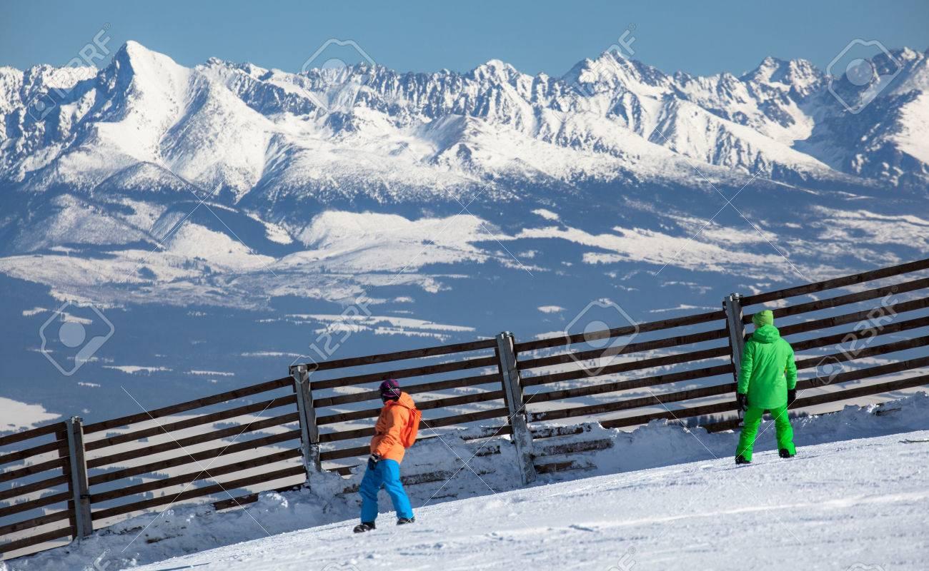 jasna, slovakia - february 18: skiers at hill cjopok in ski resort