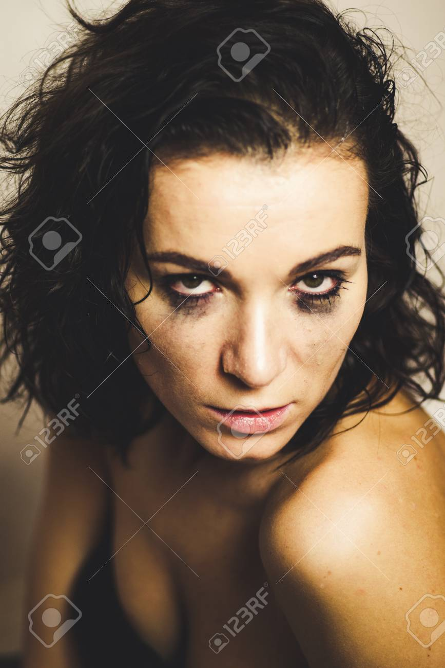 horny woman with smudged make up on eyes stock photo, picture and