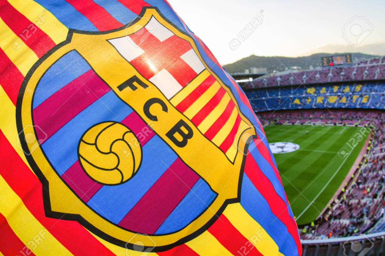 Barcelona Spain April 19 Flag Of Fc Barcelona At Stadium Stock Photo Picture And Royalty Free Image Image 81025714