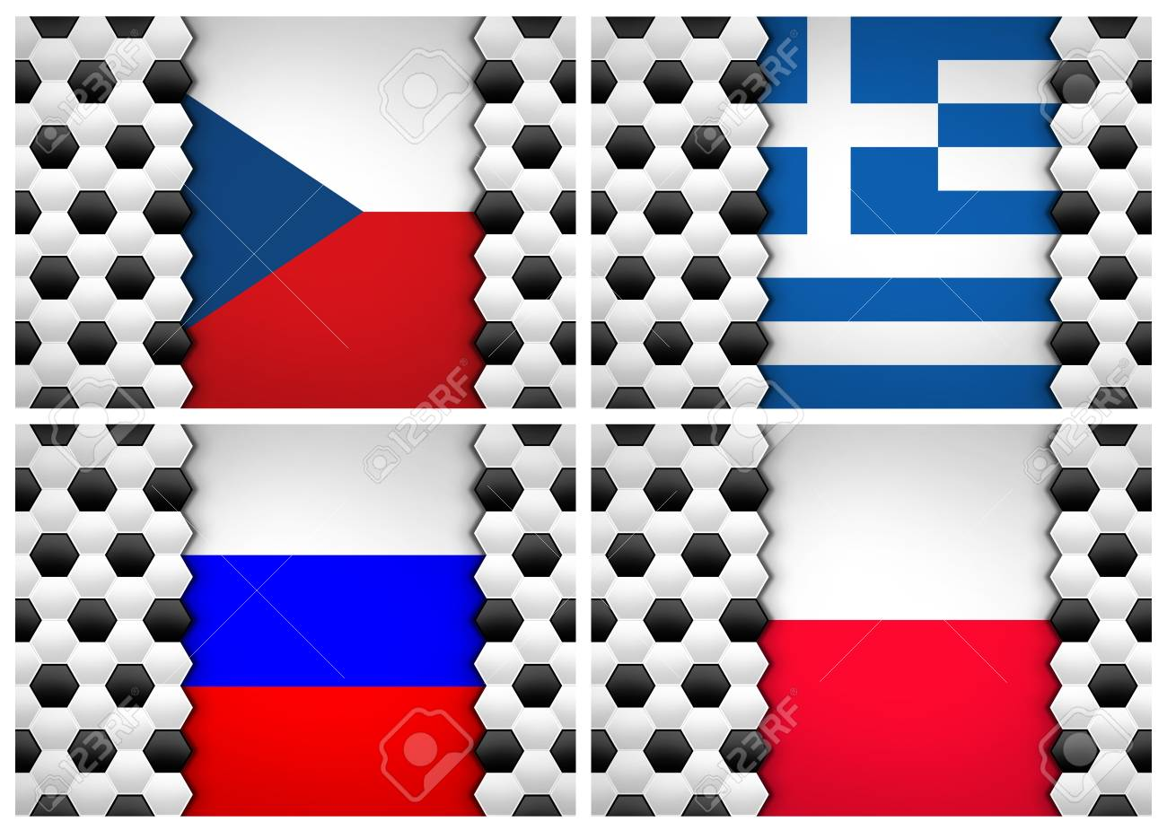soccer ball pattern on flag of Group A UEFA Euro football Cup 2012 Stock Photo - 13714374