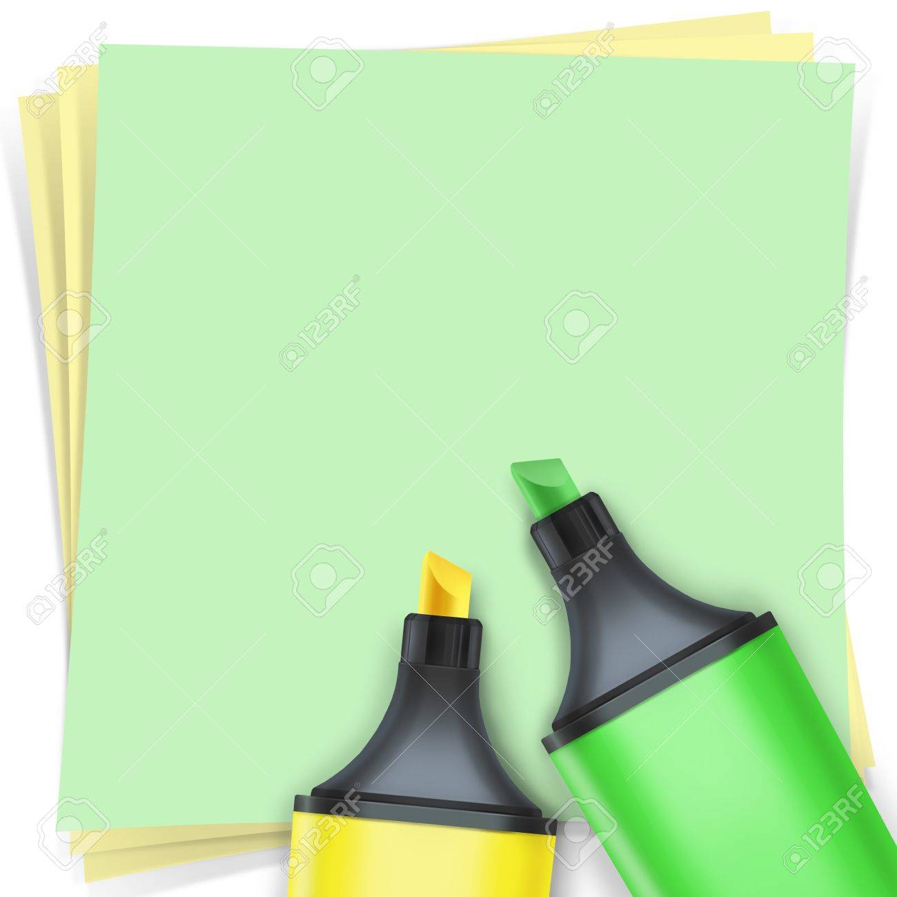 highlighter pen with note paper Stock Photo - 15648380