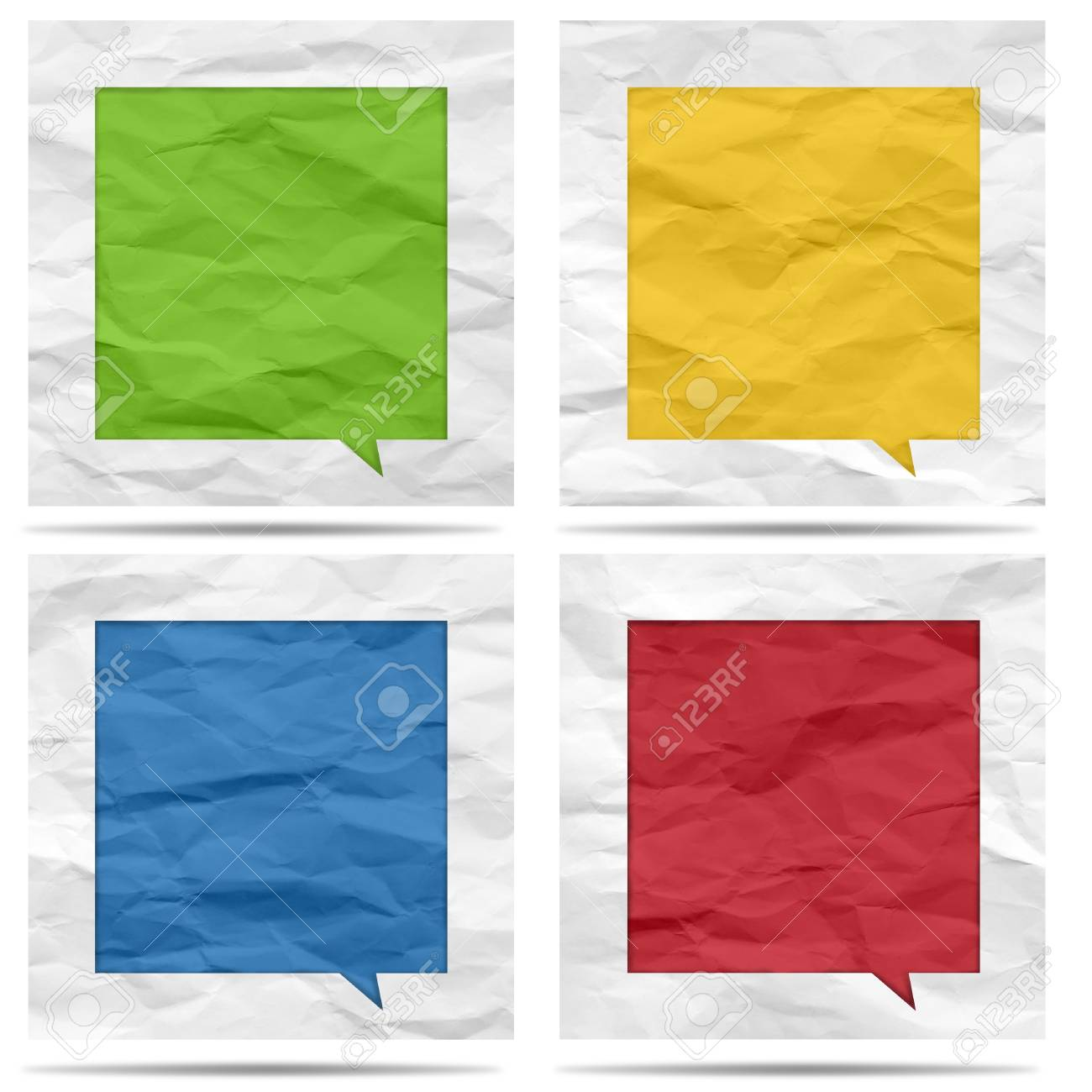 Crumpled paper bubble for speech Stock Photo - 19927831