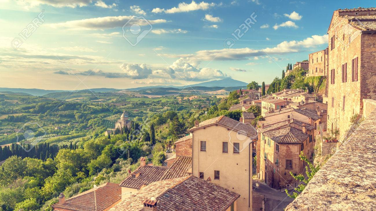 Landscape of the Tuscany seen from the walls of Montepulciano, Italy - 30537555