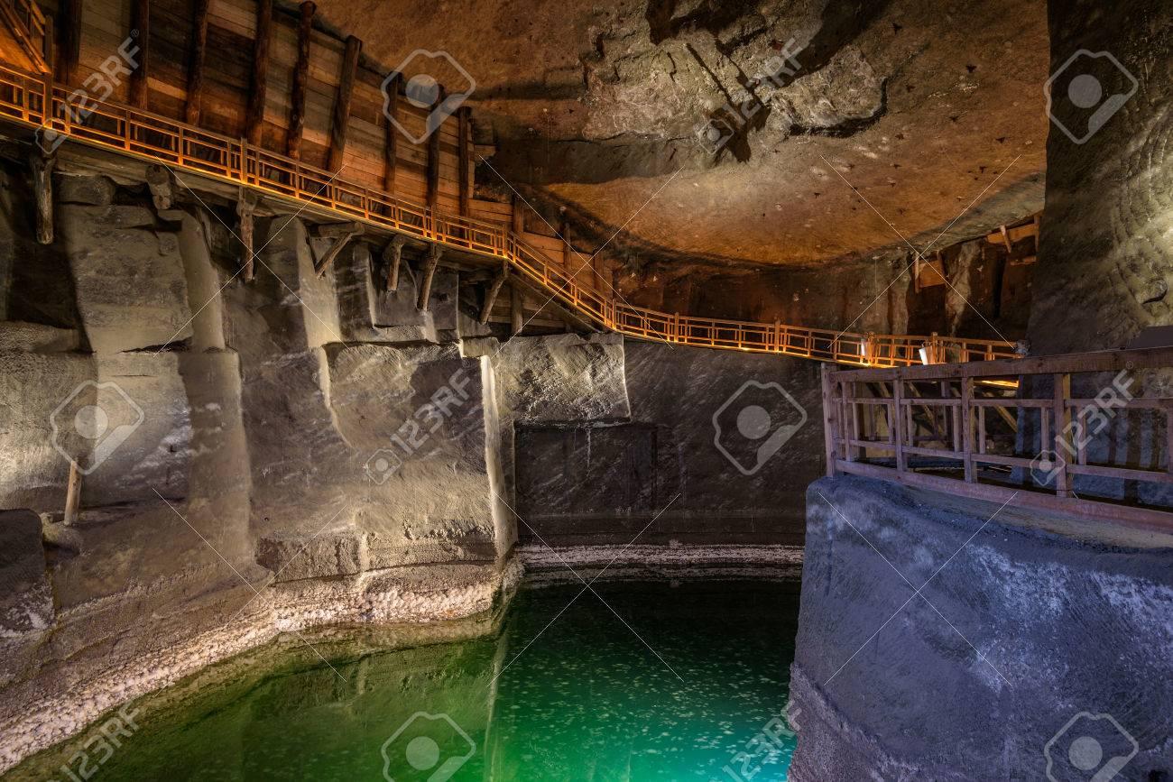 Lake in the salt mine of Wieliczka, Poland. - 49279184