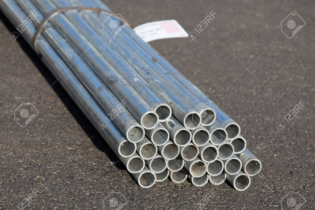 zinc stell pipes in the bundle stock photo picture and royalty free
