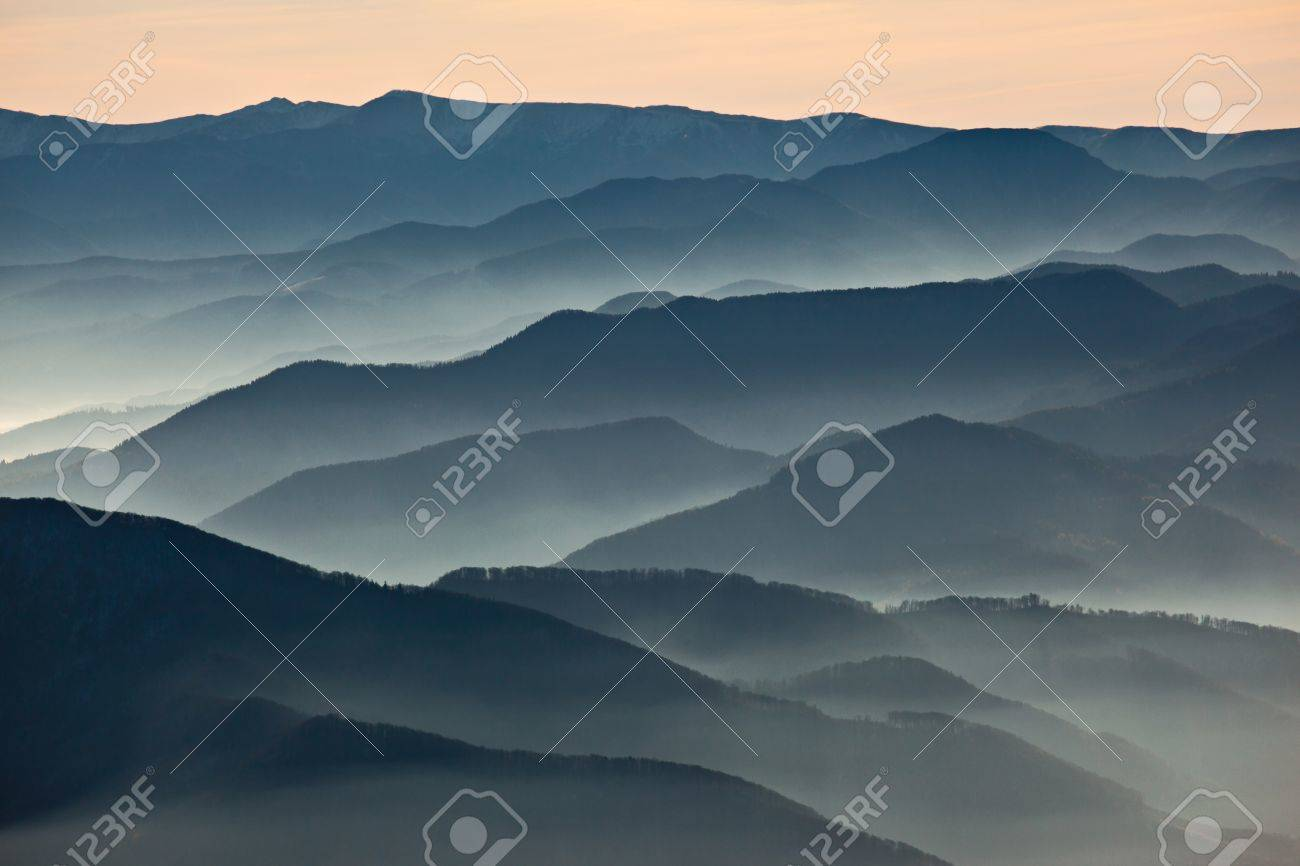 Hazy mountains ranges at dusk stock photo picture and royalty hazy mountains ranges at dusk stock photo 13536193 sciox Gallery