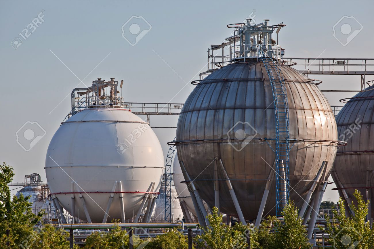 Gas storage spheres from an chemical storage facility Stock Photo - 15625853
