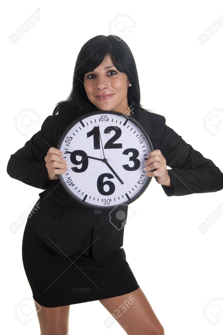 a businesswoman with a clock Stock Photo - 16584133