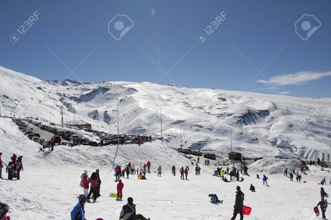 ski resort sierra nevada in southern spain, in granada stock photo