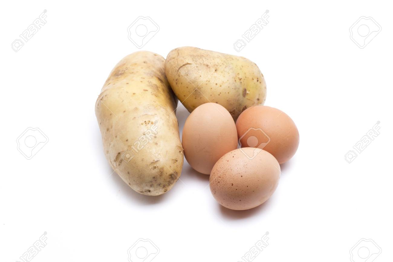 potatoes and eggs, ready to make an omelette Stock Photo - 18514948