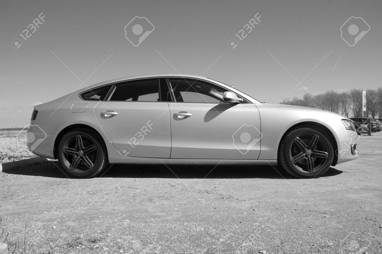 Audi A5 Hatchback Black And White Sideview Stock Photo Picture