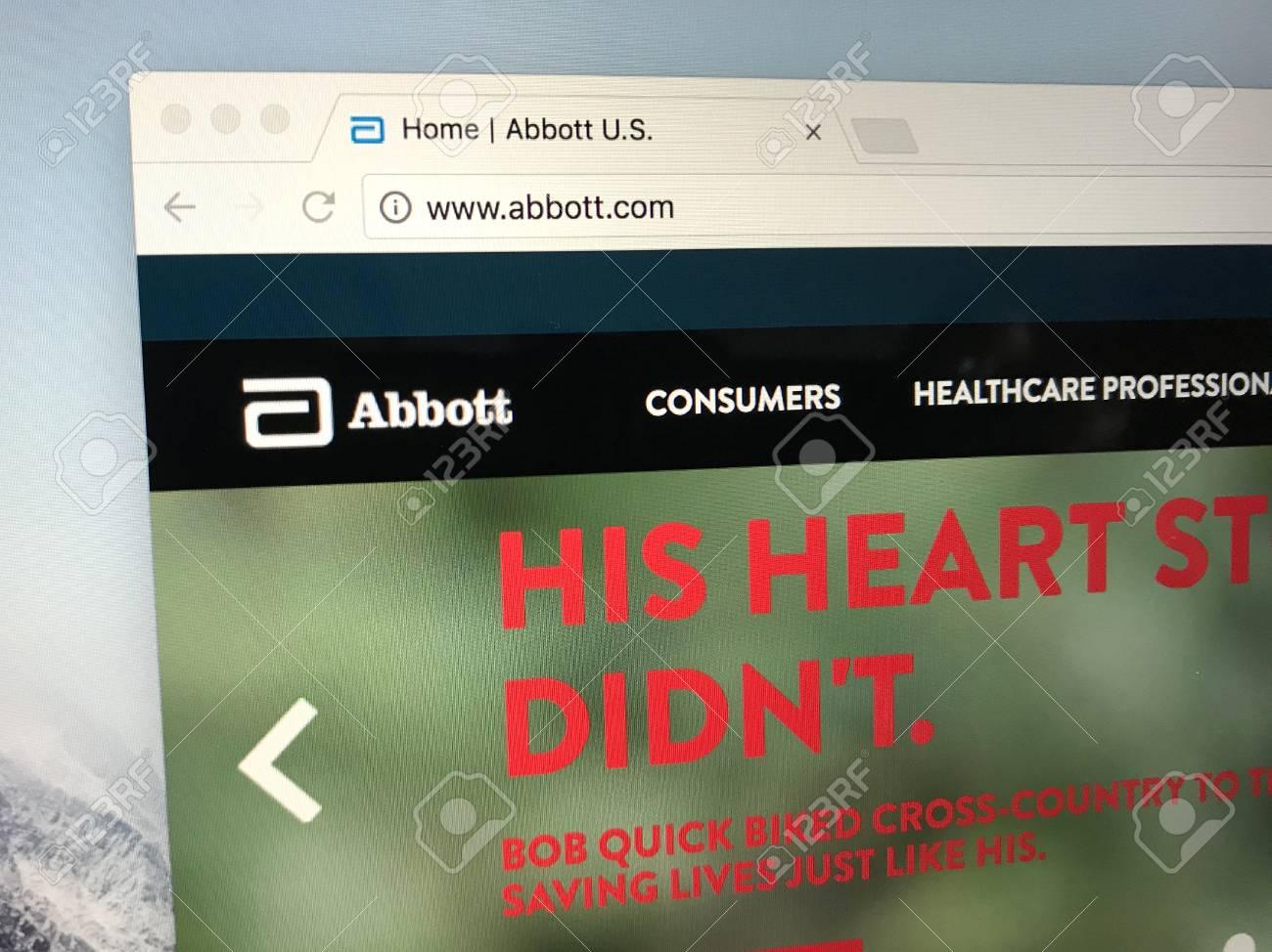 Amsterdam, Netherlands - June 17, 2018: Website of Abbott Laboratories,