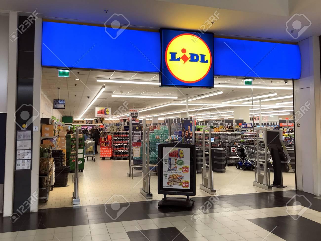 Diemen, the Netherlands - March 8, 2019: Grocery shop entrance