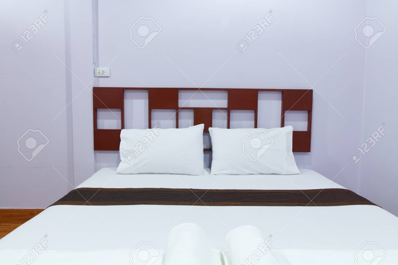 Comfortable soft pillows on the bed Stock Photo - 19292986
