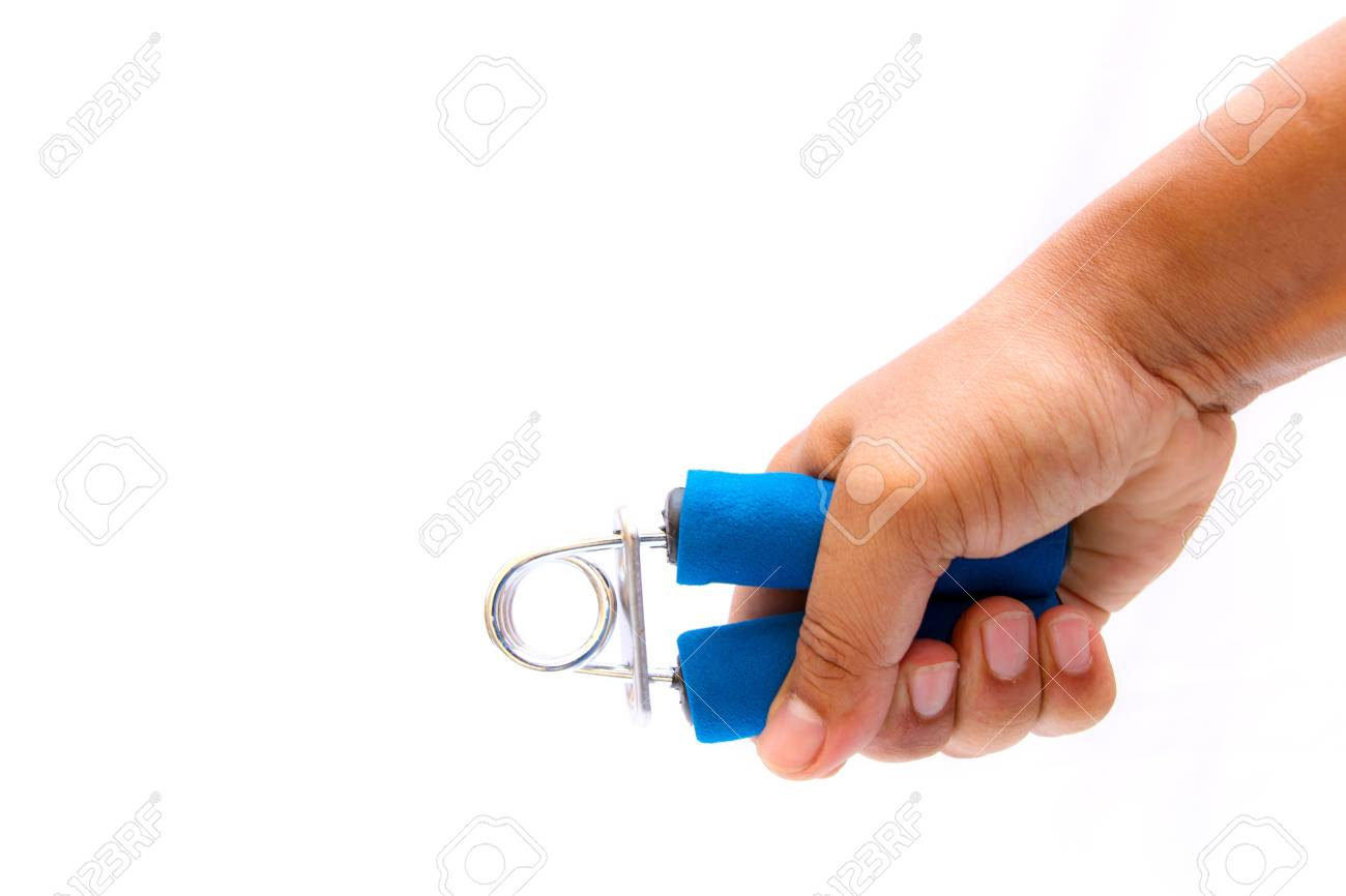 Man hand and blue color hand grip isolated on white background - 19601290