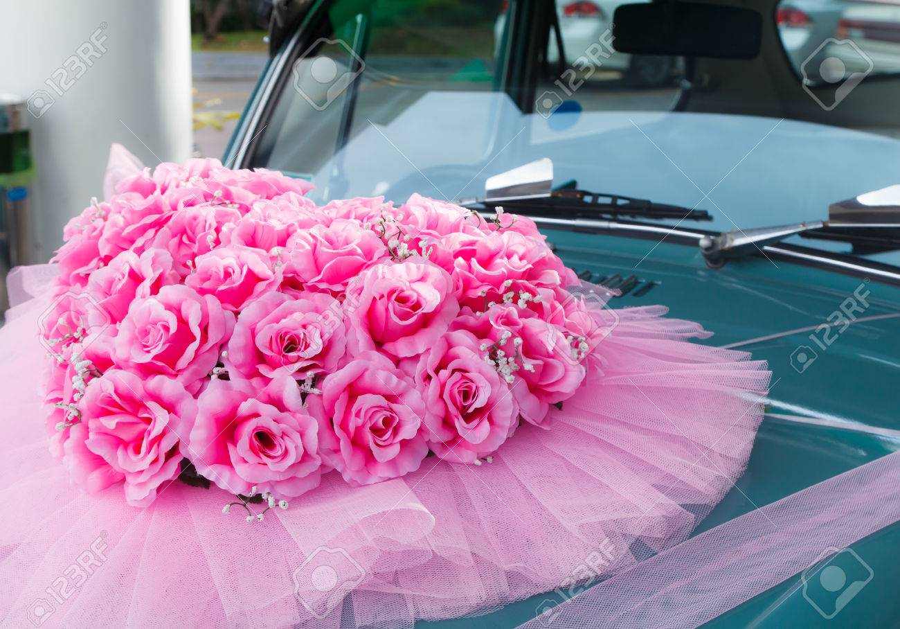 Flower Arrangement Tied To A Wedding Car Stock Photo, Picture And ...