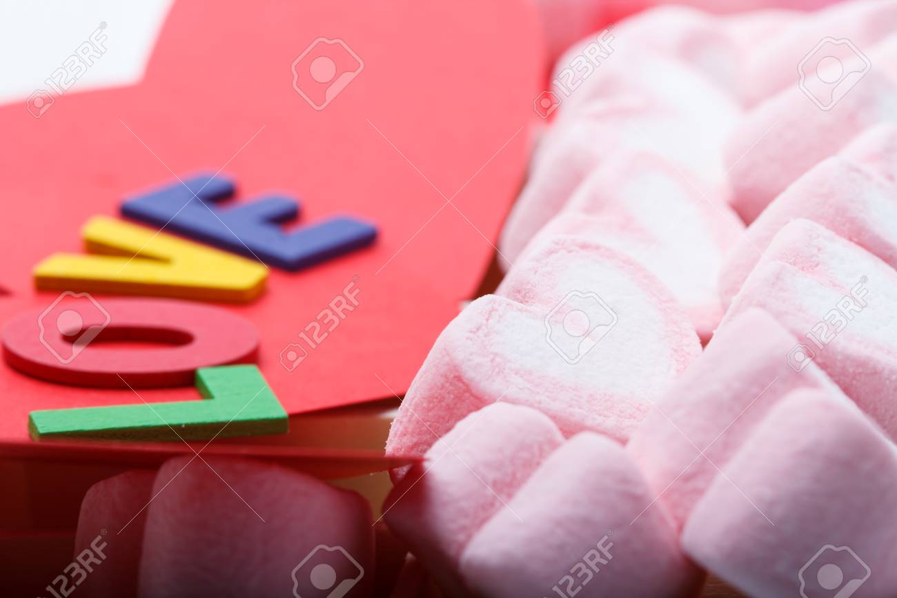 Pink Marshmallow In Heart Shape With Love Letters, Macro Shot ...