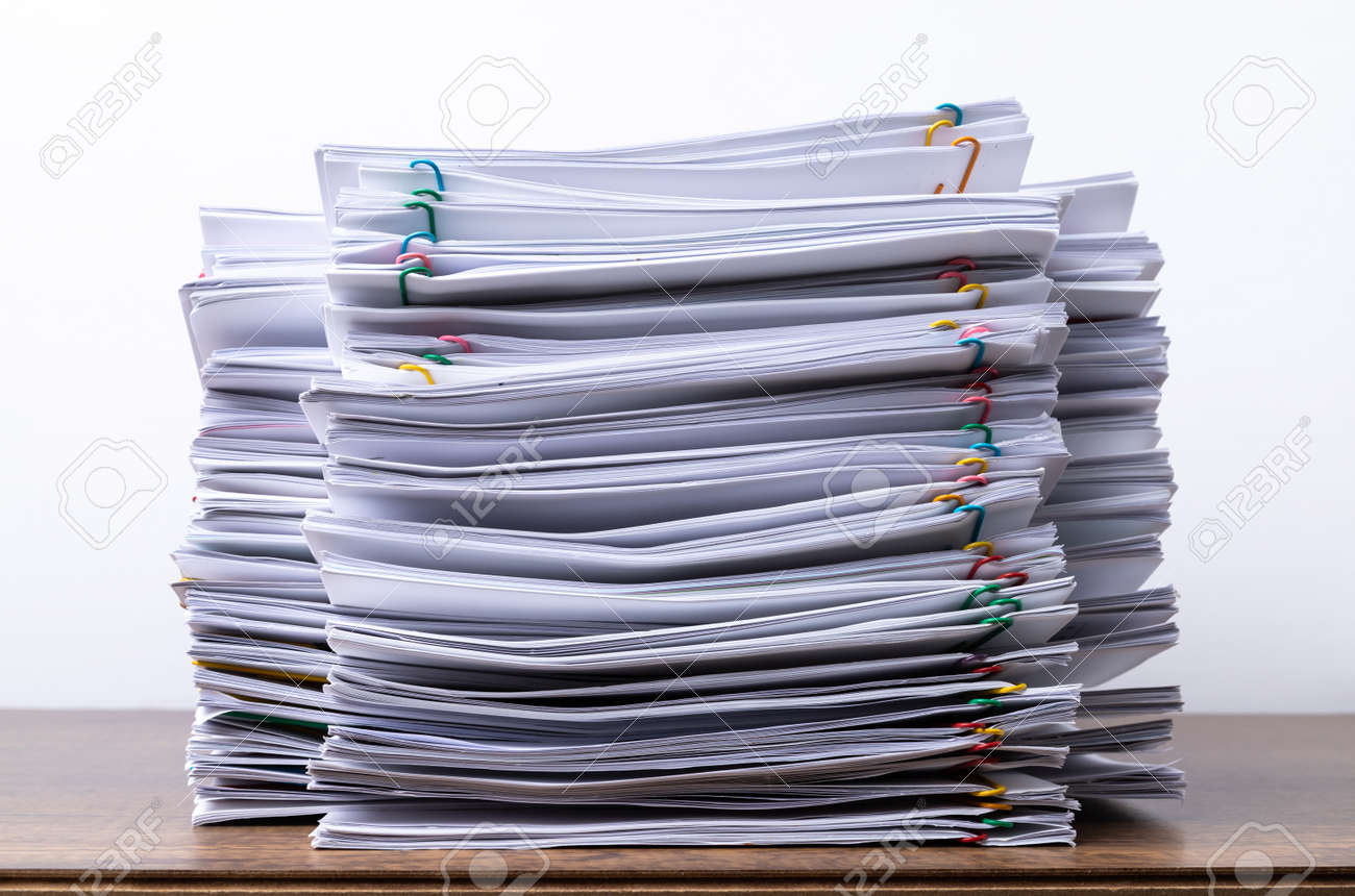 Stack overload document report paper with colorful paperclip place and copy space, business concept footage paperless used. - 148032294
