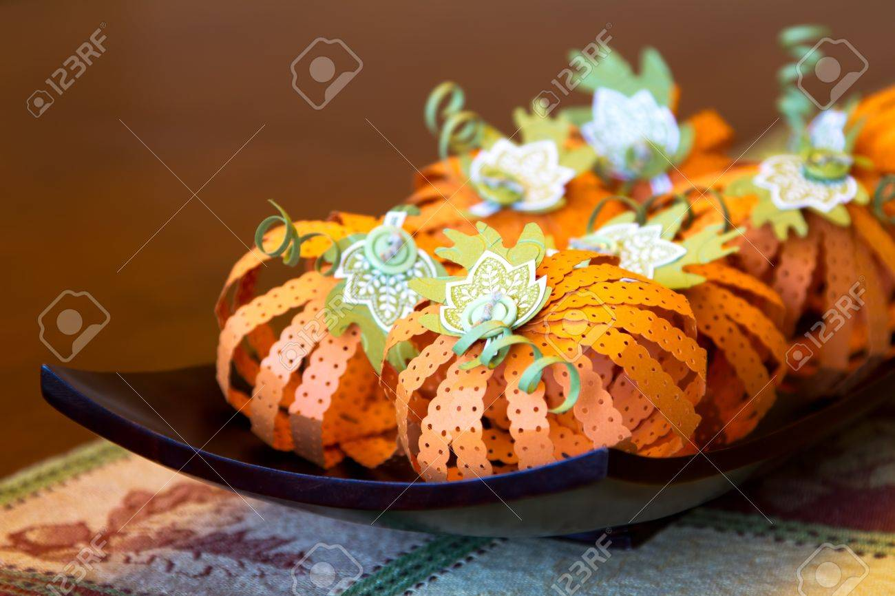 Fall Pumpkin Centerpiece Crafted Out Of Folded And Stamped Paper