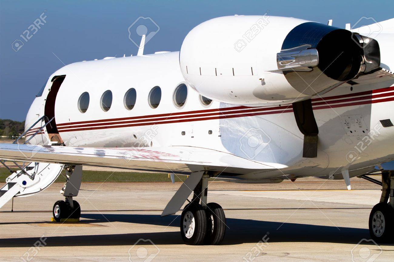Private jet parked on the tarmac Stock Photo - 10996368